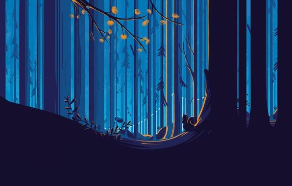 Картинка лес, деревья, белка, векторная графика