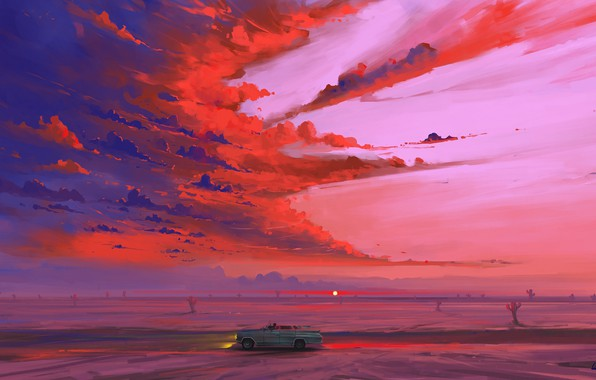 Картинка car, road, sky, desert, landscape, nature, art, clouds, sunrise, artist, digital art, artwork, cactus, BisBiswas, …