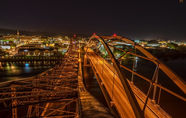 Картинка ночь, мост, город