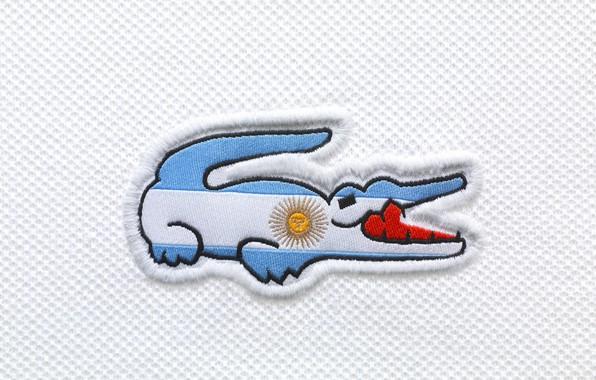 Картинка белый, солнце, красный, голубой, зубы, крокодил, флаг, лого, пасть, red, logo, white, нитки, Lacoste, blue, …