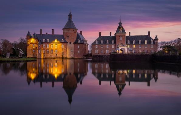 Картинка огни, пруд, замок, Германия, Castle Anholt