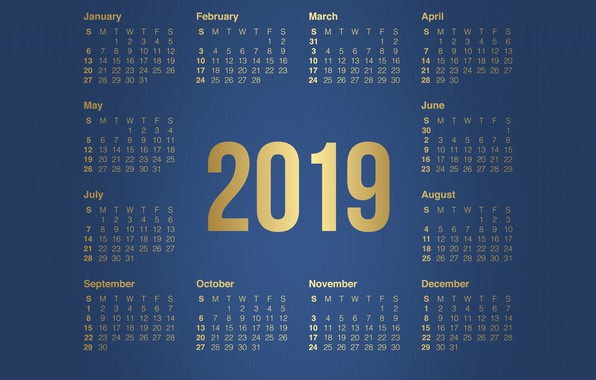 Картинка Минимализм, Фон, Background, Календарь, Месяц, Minimalism, 2019, Год 2019, Календарь 2019, Месяца