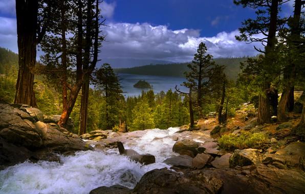 Картинка деревья, пейзаж, горы, природа, озеро, камни, водопад, США, леса, Тахо, Lake Tahoe, Eagle Falls