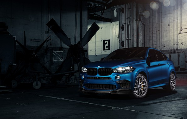 Фото обои BMW, Blue, X6M, Vossen, Sight, F86