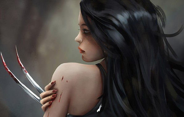 Картинка Girl, blood, fantasy, blue eyes, brunette, digital art, artwork, fantasy art, claws, tank top, fantasy …