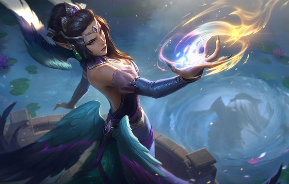 Картинка fire, girl, fantasy, game, magic, wings, blue eyes, League of Legends, digital art, artwork, fantasy …