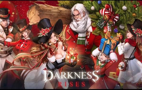 Картинка очки, подарки, декольте, старик, сумочка, ёлка, бантики, персонажи, цилиндр шляпа, костюм Санты, Dark Avenger, рождественская …
