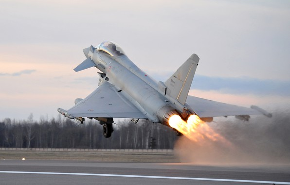 Картинка Форсаж, Взлет, Eurofighter Typhoon, ВВС Италии, Шасси, Многоцелевой Истребитель