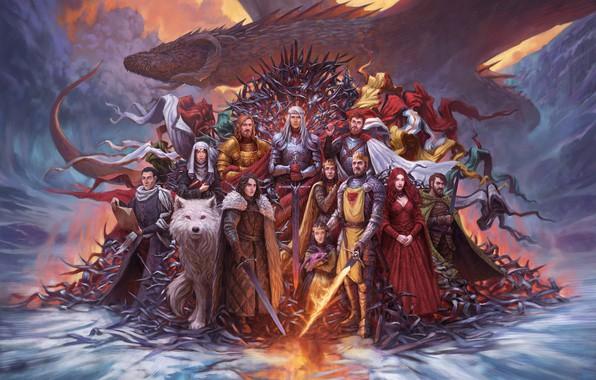 Картинка Дракон, Волк, Fantasy, Dragon, Призрак, Песнь Льда и Огня, Game of Thrones, Игра престолов, Джон …