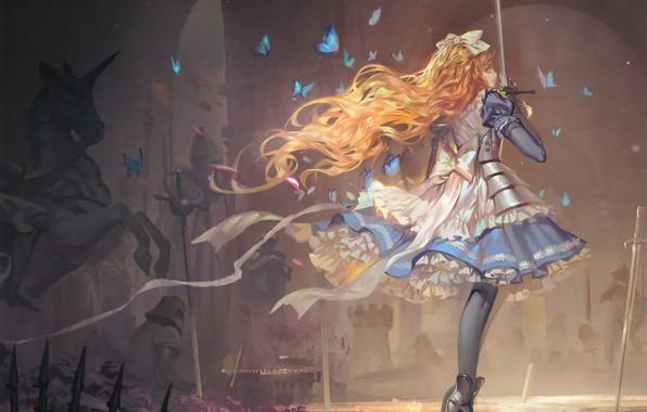 Картинка бабочки, доспехи, рыжеволосая, длинные волосы, поле боя, шахматная доска, art, Alice, сабля, alice in wonderland, …