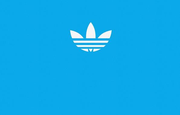 Картинка синий, голубой, знак, обои, спорт, логотип, лого, logo, адидас, adidas, фирма, синий фон, blue, голубой …
