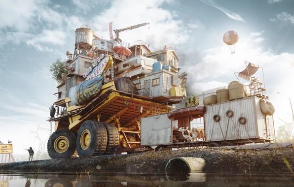 Картинка транспорт, человек, труба, водоём, The Free Autonomous Republic of Dieselville