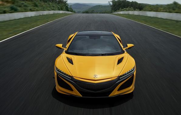 Картинка жёлтый, купе, Honda, трек, Acura, NSX, 2020