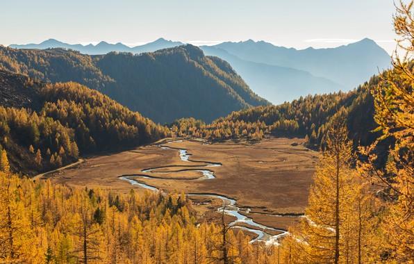 Картинка осень, лес, небо, солнце, деревья, горы, река, долина, Италия, вид сверху, жёлтые, north Italy, Preda ...