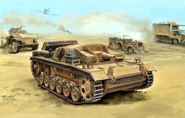 Картинка бронеавтомобиль, StuG III, автомашина, Северная Африка, WWII, Deutsches Afrikakorps