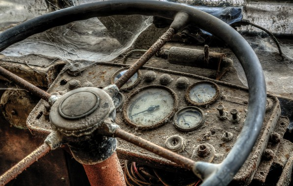Картинка машина, руль, панель управления