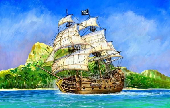 Картинка корабль, Пиратский, ''Черный Лебедь'', Галеон, 18 фунтовые пушки, бортовой залп содержит 16 пушечных ядер