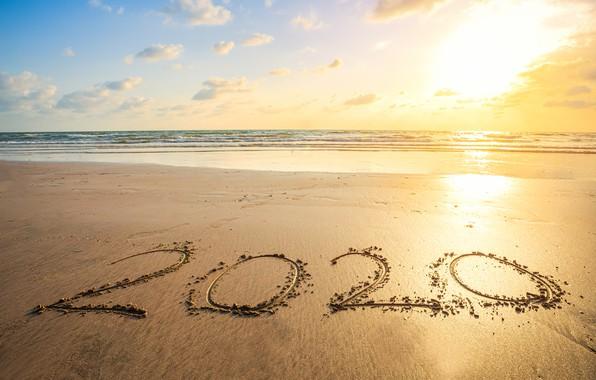 Картинка песок, море, пляж, Новый год, new year, happy, beach, sea, sand, 2020