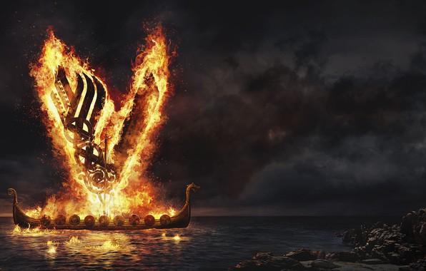 Картинка море, ночь, огонь, викинги, vikings, драккар