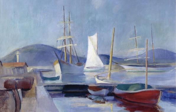 Картинка лодка, корабль, картина, Парусники, Анри Оттманн, Henri Ottmann