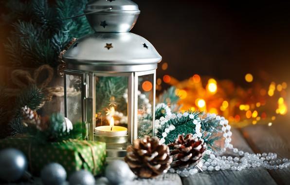 Картинка снег, украшения, Новый Год, Рождество, подарки, christmas, balls, wood, winter, snow, merry, decoration, lantern, gift …