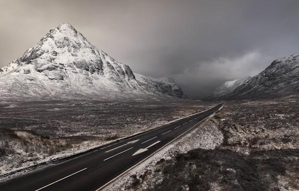 Картинка Winter, Scotland, Mountains, Road, Two way ticket