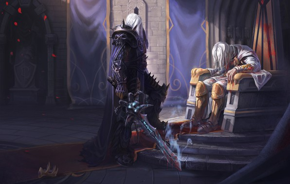 Картинка Король, WOW, Lich King, Warcraft, Blizzard, Paladin, Arthas, Frostmourne, Артас, Illustration, Characters, WarCraft 3, Король-лич, ...
