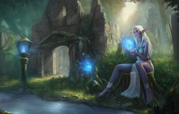 Картинка лес, девушка, эльф, World of Warcraft, Warcraft, wow, art