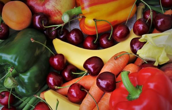 Картинка красный, вишня, зеленый, ягоды, яблоко, еда, бананы, перец, фрукты, абрикос, овощи, морковь, персик, много, черешня, …