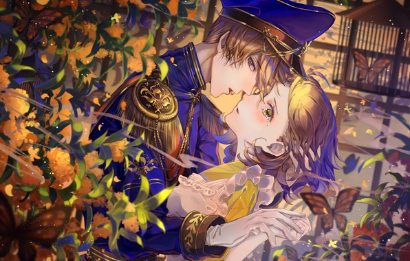 Картинка бабочки, объятия, перчатки, румянец, фуражка, слёзы, art, военная форма, почти поцелуй, в саду, эполеты, парень …