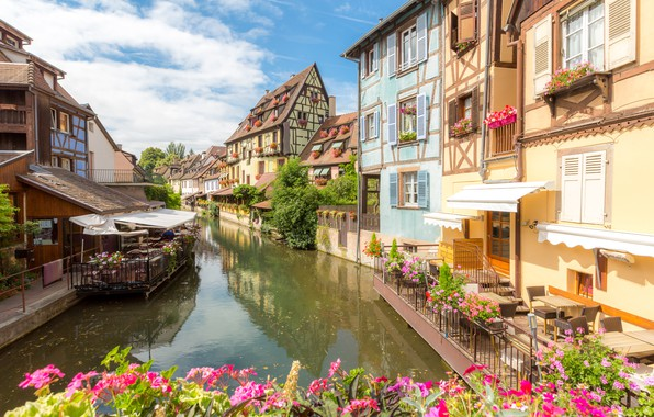Картинка река, улица, Франция, дома, France, flowers, street, buildings, town, cityscape, canal, Colmar