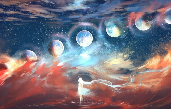 Картинка мечта, космос, звезды, пространство, будущее, dream, планеты, future, space, другие миры, stars, planets, fantasy art, …