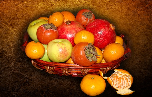 Картинка яблоки, фрукты, натюрморт, гранат, мандарины, хурма, авторское фото Елена Аникина