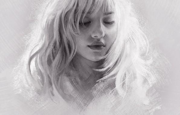Картинка Девушка, Рисунок, Блондинка, Girl, Волосы, Арт, Art, Blonde, Hair, Artist, Художник, Mandy Jurgens, Закрытые глаза, …