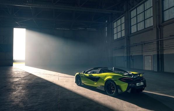Картинка машина, стиль, ангар, фонари, McLaren 600LT Spider