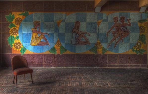 Картинка комната, стена, стул