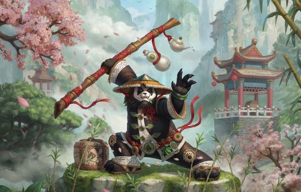 Картинка игра, фэнтези, арт, панда, Blizzard, Nelly Amosova, Smirnov illustration cup, Chen fan art