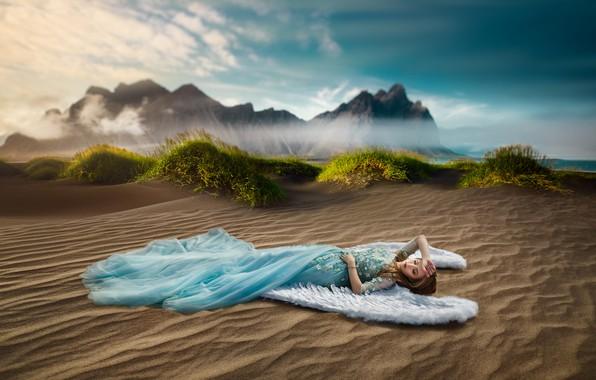 Картинка песок, девушка, поза, настроение, крылья, ангел, платье, Ренат Хисматулин