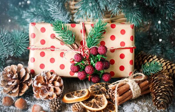 Обои снег, украшения, Новый Год, Рождество, подарки, christmas, balls, wood, winter, snow, merry, decoration, gift box, …