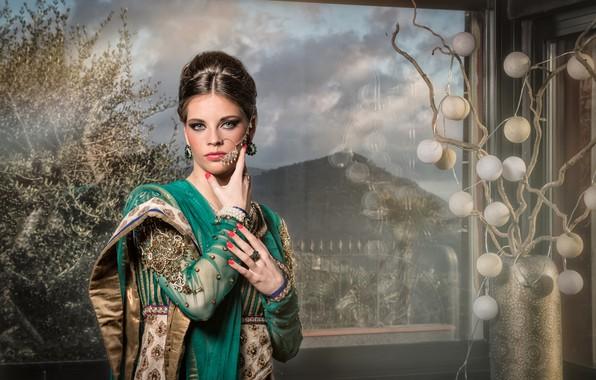 Картинка девушка, пейзаж, Индия, наряд, свадьба, окно в природу