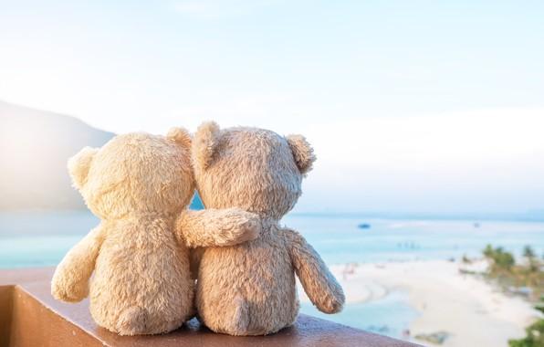 Картинка песок, море, пляж, любовь, игрушка, медведь, мишка, пара, love, двое, beach, bear, sea, romantic, sand, …