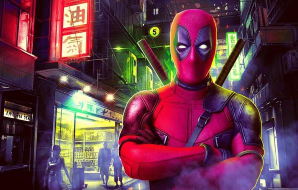 Картинка ночь, город, огни, фантастика, улица, дома, маска, арт, костюм, иероглифы, вывески, мечи, постер, Deadpool, Дэдпул, …