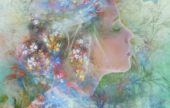 Картинка лето, девушка, цветы, весна