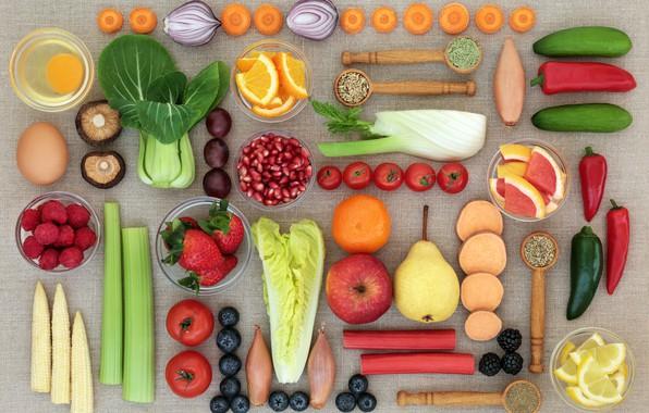 Картинка малина, лимон, грибы, яблоко, апельсин, яйца, кукуруза, лук, черника, клубника, ягода, груша, перец, фрукты, овощи, ...