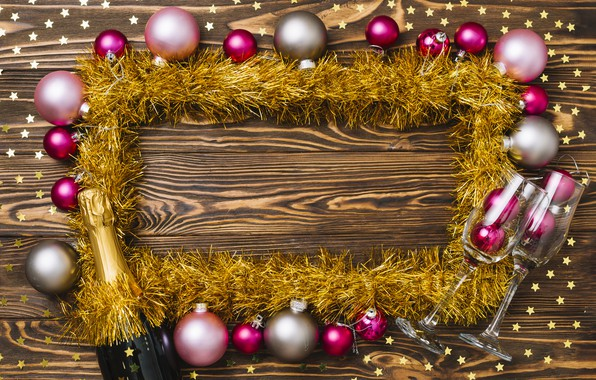 Картинка украшения, шары, colorful, Новый Год, бокалы, Рождество, мишура, шампанское, Christmas, balls, New Year, decoration, xmas, ...