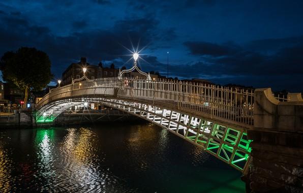 Картинка мост, огни, вечер, Ирландия, Дублин