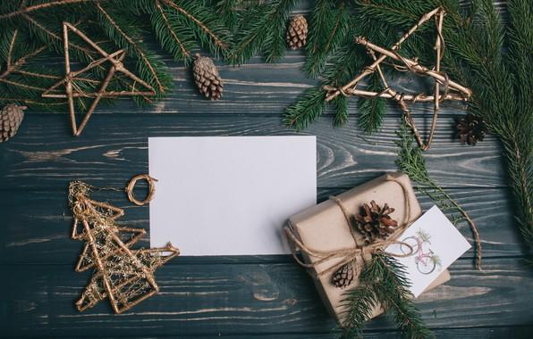 Картинка украшения, Новый Год, Рождество, подарки, Christmas, wood, New Year, decoration, xmas, gift box, Merry, fir …