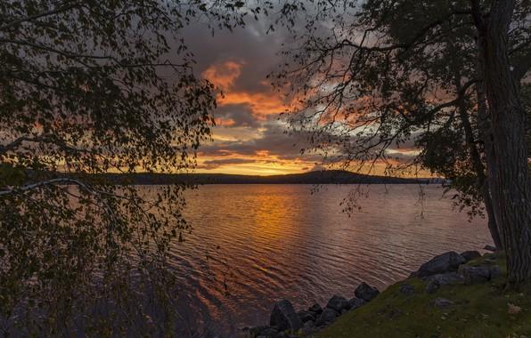 Картинка закат, отражение, река, вечер, берега