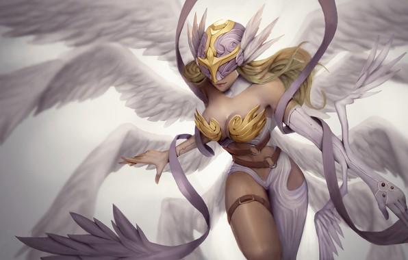 Картинка girl, fantasy, cleavage, breast, wings, Angel, blonde, digital art, artwork, fantasy art, chest, helmet