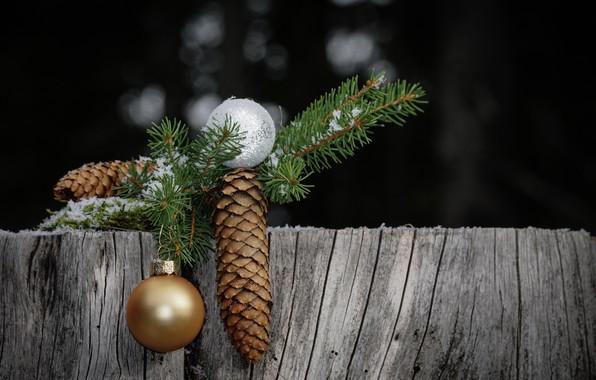 Картинка шарики, новый год, рождество, шишка